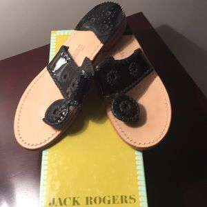 Jack Rogers black patent Navajo sandals 6.5 w box